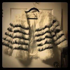 Jackets & Blazers - Black and white fur coat